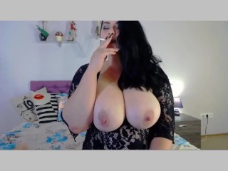 Topless Cam Model Smokes while Watching Me Stroke