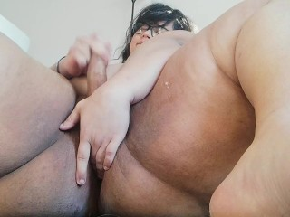 cute chubby trans girl plays with her fat ass, SQUIRTS and cums