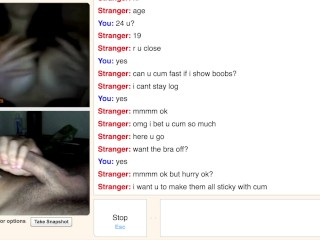Omegle Teen Show Massive Perky Tits for My Cum