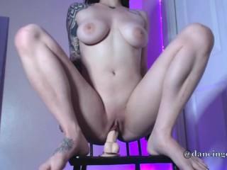 Tattooed Girl Cums On Dildo