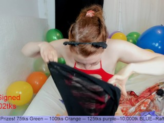 Balloon Party - Heeled MILF Wears Bunny Buttplug