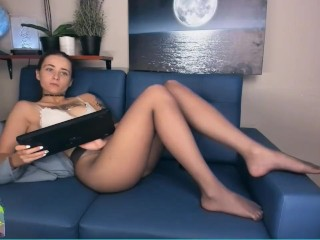 lykkedi relaxes in her sheer pantyhose