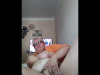 GILF with huge saggy tits masturbation