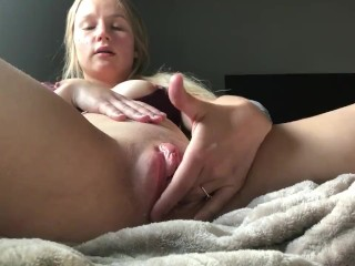 Cute blonde girl creams and squirts young juicy pussy
